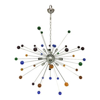 Murano Glass Triedo Multicolor Sputnik Chandelier For Sale