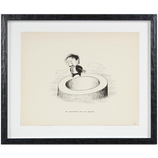 "Clyde Follett Seavey ""No Beginning and No Ending"" Monochromatic Cartoon Illustration in Ink, 1946 1946 For Sale"