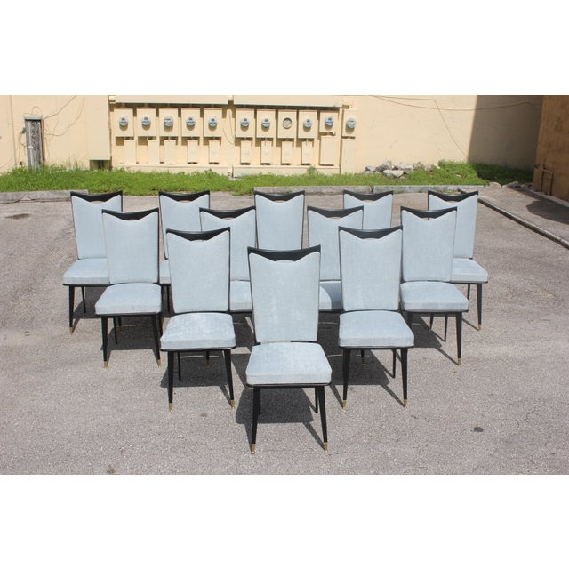 Brass Monumental Set of 12 French Art Deco Dining Chairs, Circa 1940s For Sale - Image 7 of 13