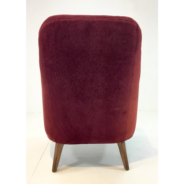 2010s Drexel Heritage Clay Velvet Curl Club Chair For Sale - Image 5 of 6