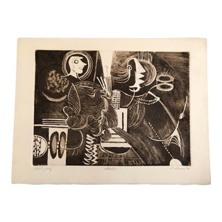 1976 Abstract Brown and White Etching by Indiana Artist Robert Lohman For Sale