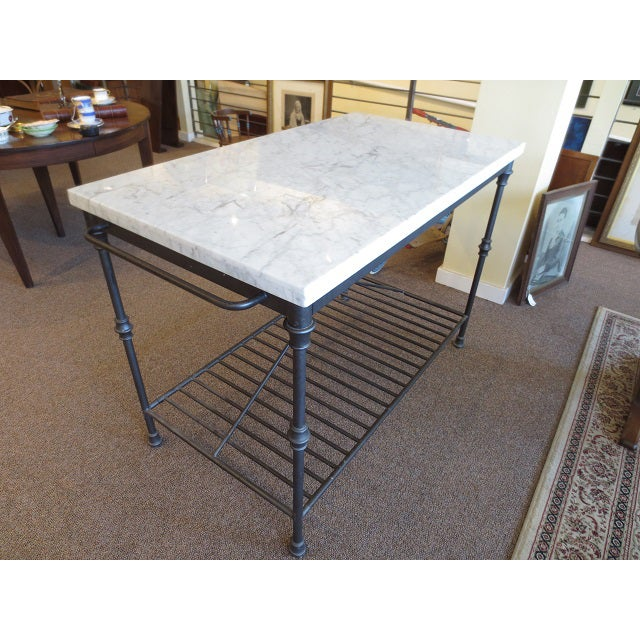 Marble Top Metal Base Kitchen Island - Image 6 of 9