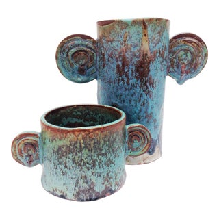 Organic Sculptural Turquoise Pottery Vases - a Pair For Sale