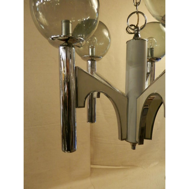 Modern Vintage Modern Chandelier W/ Smoked Glass For Sale - Image 3 of 6