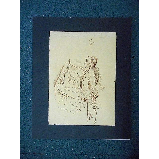 Mid 20th Century Original Vintage Mid 20th Century Drawing-D. Fredenthal-Listed American Artist- u.n. Suez Crisis For Sale - Image 5 of 5