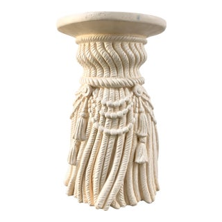 Rope and Tassels Plaster Side Table For Sale