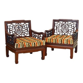 Pair of Chinese Carved Mahogany Ming Style Low Club or Lounge Chairs, Circa 1940 For Sale