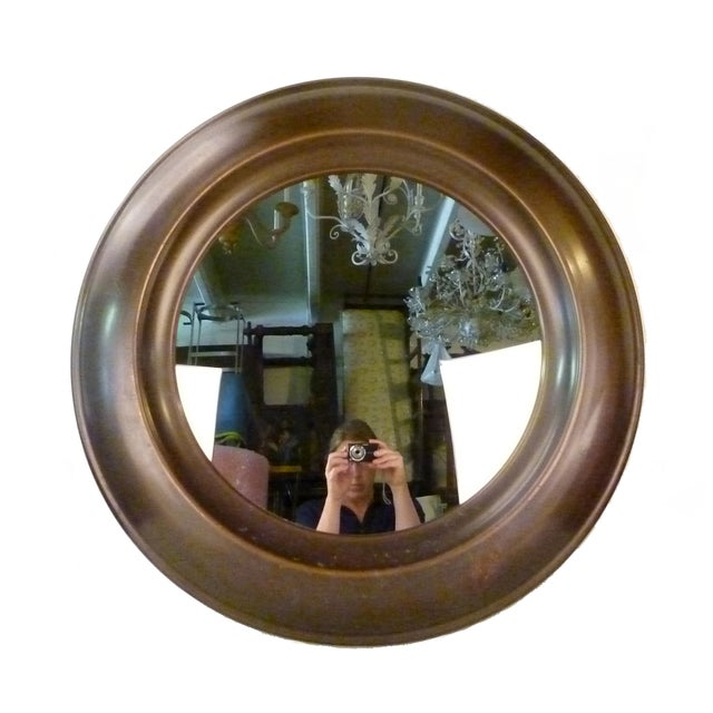 Round, elegant Mid-Century Modern Brass Mirror. Can be hung.