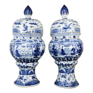 Vintage Blue & White Ginger Jars - A Pair