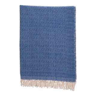 Diamante Cotton Blanket in Blue Size Large For Sale
