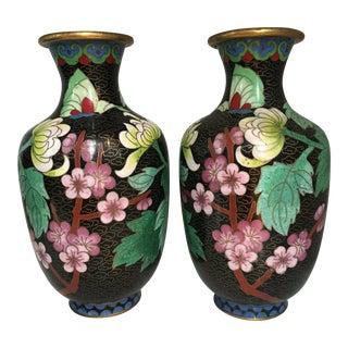 Black Cloisonne Vases - A Pair