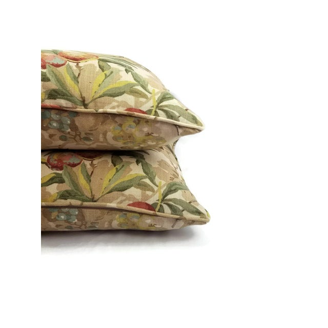 """Brunschwig & Fils Brunschwig & Fils Peach Tree in Beige and Blue Linen Print Pillow Cover - 20"""" X 20"""" For Sale - Image 4 of 7"""