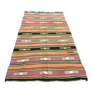 1960s Vintage Turkish Handwoven Wool Kilim Rug - 4′8″ × 8′7″ For Sale