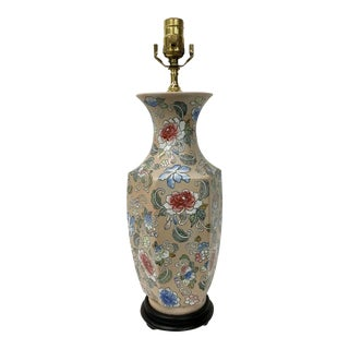 Blossoms Motif Vase Lamp For Sale