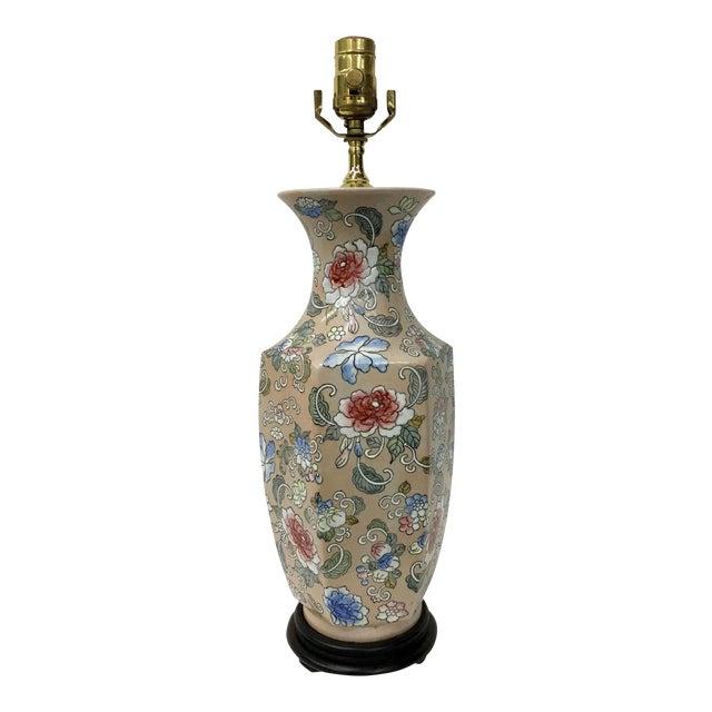 Blossoms Motif Vase Lamp For Sale
