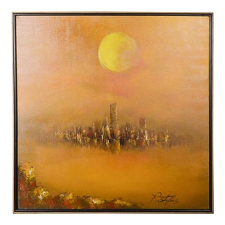 Vintage Mid-Century R. Styles Cityscape Oil Painting For Sale