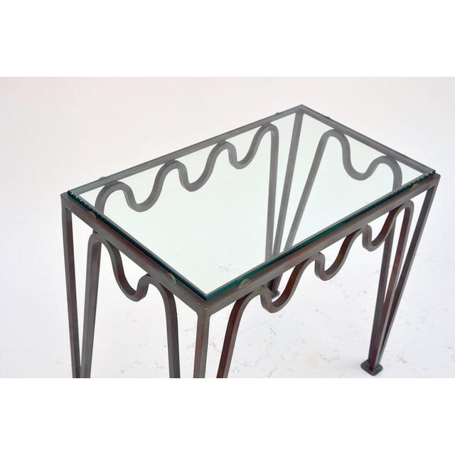"""2010s Contemporary """"Méandre"""" Verdigris Iron and Glass Side Table For Sale - Image 5 of 7"""
