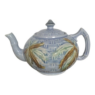 Vintage 1880's Majolica George Morley English Basketweave Teapot For Sale