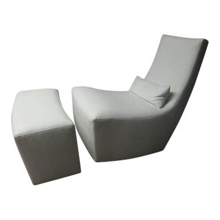 Leather Lounge Chair and Ottoman by Ligne Roset For Sale