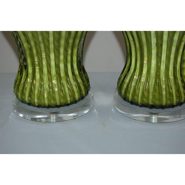 Vintage Murano Glass Table Lamps Green Gold For Sale - Image 9 of 10