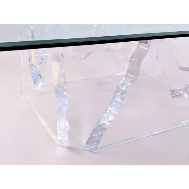 Hollywood Regency Lion in Frost Style Lucite Iceberg Coffee 2-Piece Table Base For Sale - Image 3 of 13