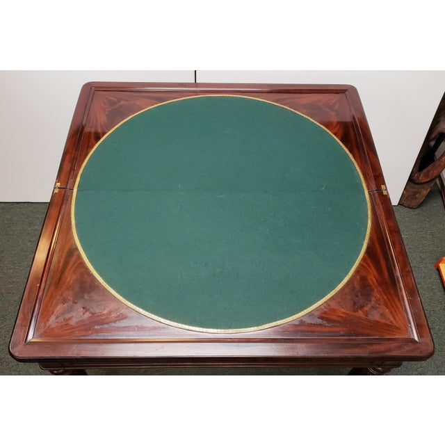 Up for sale is an Early 20th Century English Regency Style Mahogany Flip Top Games Table! When folded up and closed, it...