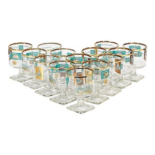 1960s Gilt Showboat Footed Stems, Set of 14 For Sale