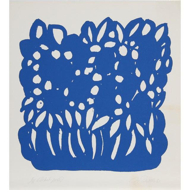 Nadine Prado 'Blue Flowers' Serigraph Print - Image 1 of 2