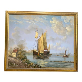 Seaside Sailboat Scene Framed and Signed Oil Painting For Sale