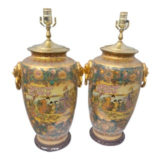 19th Century Japanese Satsuma Vases Lamps Wooden Bottom - a Pair For Sale