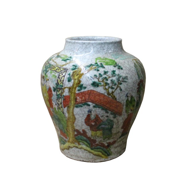 Chinese Handmade Gray White Crackle Base People Graphic Ceramic Pot Jar For Sale - Image 4 of 9