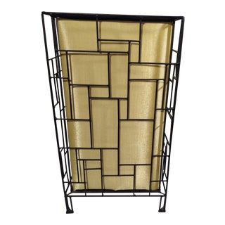 Mid-Century Abstract Steel and Silk Floor/ Table Lamp For Sale