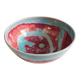 Vintage Studio Pottery Bowl - Pink and Blue Swirl For Sale