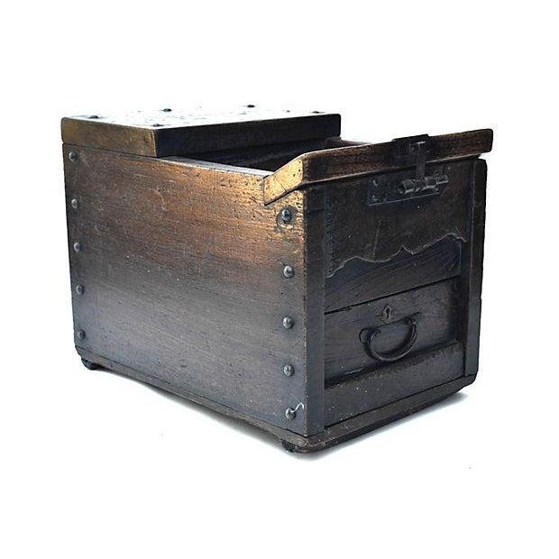 Antique Japanese Keyaki Money Box - Image 5 of 7