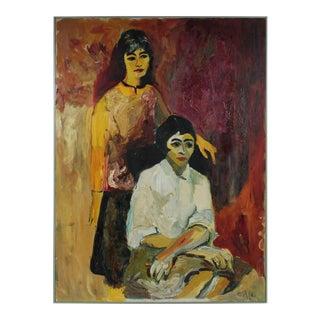 """""""Clara & Theodora"""" Bay Area Figurative Portrait in Oil, 1963 For Sale"""