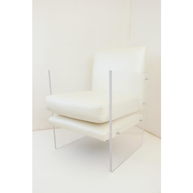 Vintage Mid Century Modern Clear Lucite & White Upholstered Arm Chair For Sale - Image 13 of 13