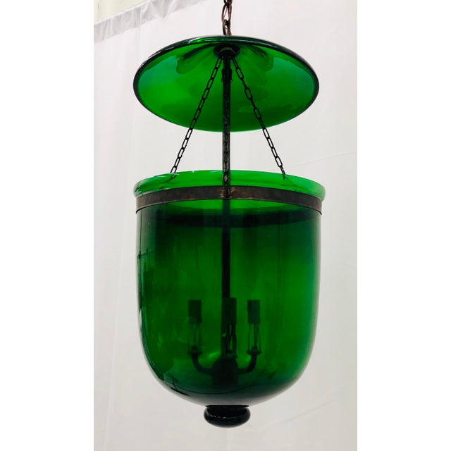 Victorian Traditional Green Glass Bell Jar Pendant For Sale - Image 3 of 13