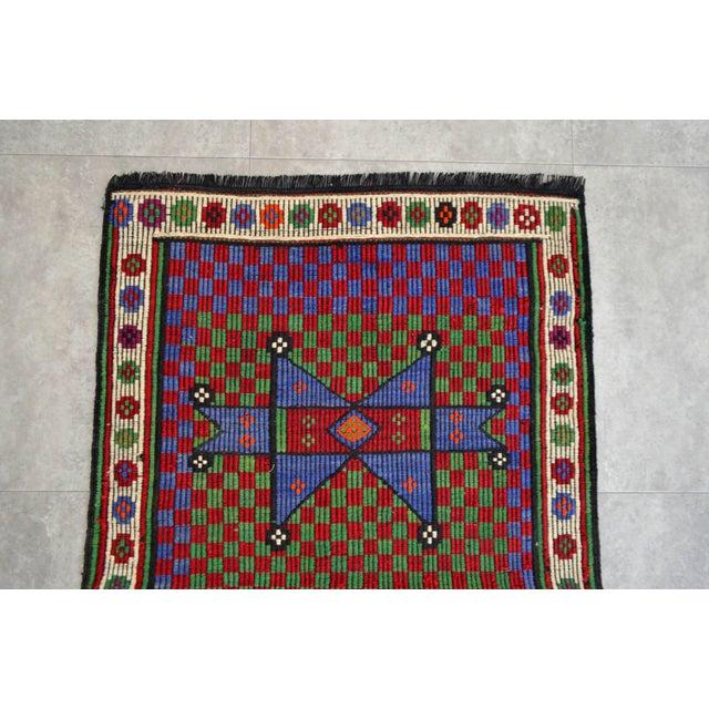 1970s Turkish Hand Woven Wool Starry Jajim Mini Kilim Rug - 2′6″ X 3′9″ For Sale - Image 5 of 8
