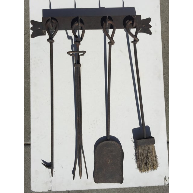 Antique Wrought Iron Fireplace Tool Set Wall Mount For Sale - Image 11 of 11