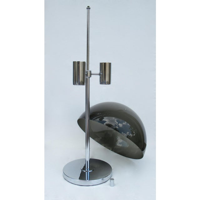 Mid-Century Modern 1960's Mid-Century Modernist Space Aged Smoked Lucite and Chrome Mushroom Table Lamp For Sale - Image 3 of 13