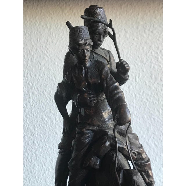 Traditional Russian Two Cossacks Men on Horseback Bronze Statue For Sale - Image 3 of 7