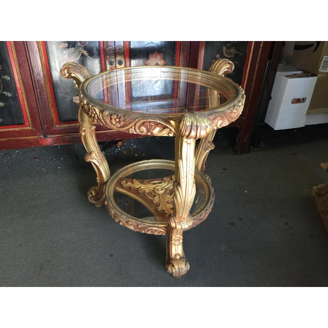 Glass Rococo Carved French Style Side Table For Sale - Image 7 of 8