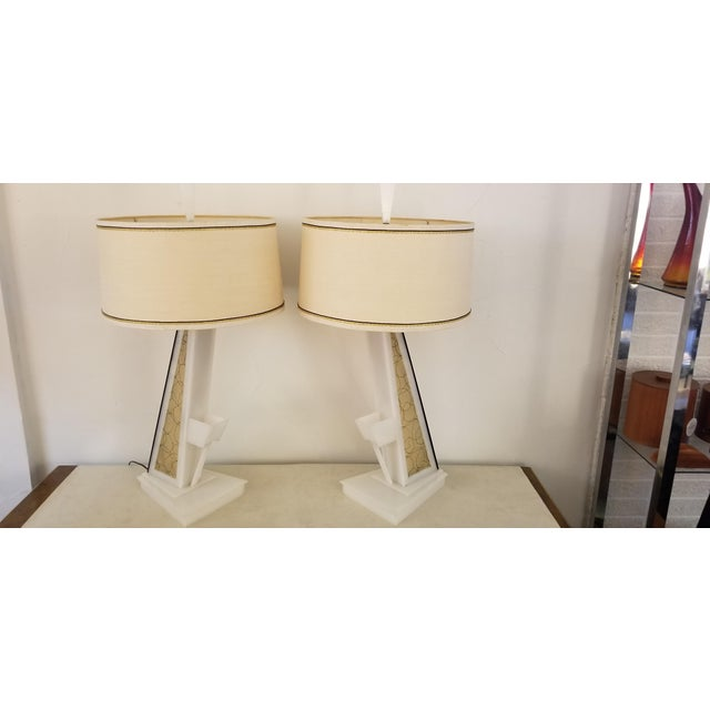 1950s Lucite Moss Studios Lamps With Shades - a Pair For Sale - Image 10 of 10