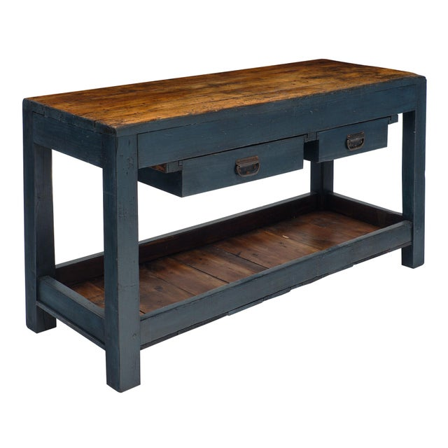 Antique Italian Blue Painted Work Table For Sale - Image 10 of 10