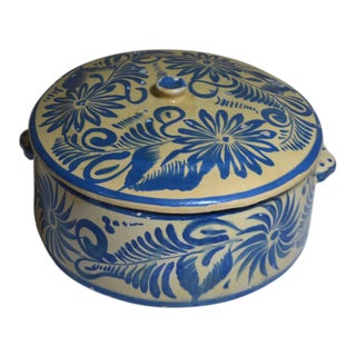 Mexican Pottery Tlaqueplaque Blue & Yellow Lidded Casserole Dish