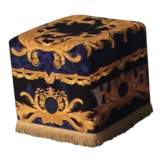 Gianni Versace Custom DV Wilde Blue & Gold Ottoman With Fringe For Sale