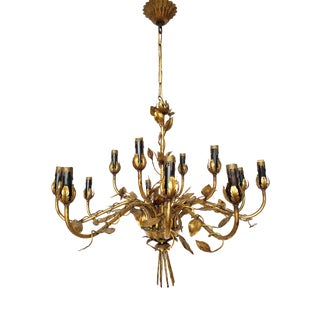 Hollywood Regency Style Italian Gilt Tole Chandelier For Sale