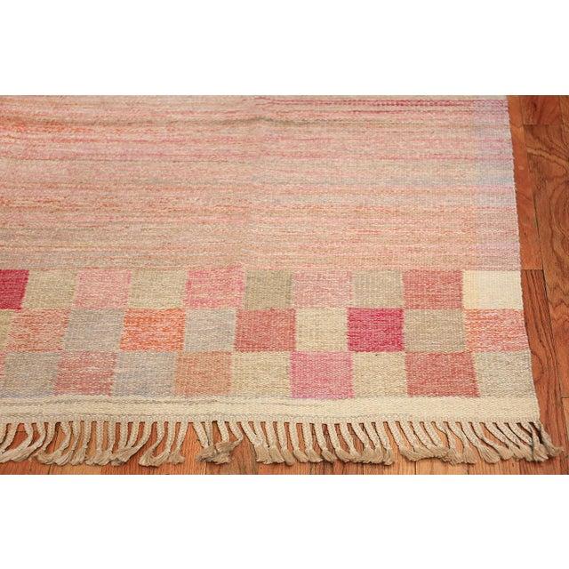 Textile Vintage Scandinavian Art Deco Flat Carpet - 7′3″ × 10′8″ For Sale - Image 7 of 10