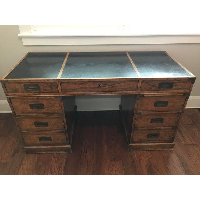 Vintage Baker Furniture Walnut Campaign Style Partner Desk For Sale - Image 11 of 11