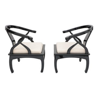 James Mont Style Horseshoe Chairs - a Pair For Sale